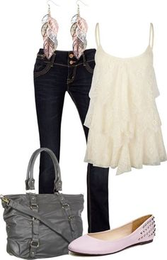Dark jeans, cream tiered lace tank, dangly earrings.  Fun for night out - or put a black suit coat over it for casual office wear