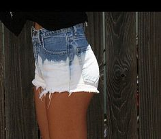 "Bleach Dip-Dyed High Waisted Shorts. now that i'm older i'm glad high waisted shorts are back ""in"" lol"