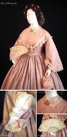 Circa 1860s one-piece pink cotton dress. Embroidered organdy lace trims bodice and sheer silk collar. Collar also has passementerie of pink rosebuds on beige and green. Pink satin bows on bodice front. Pagoda-style sleeves faced with pale pink velvet. Beige lace and passementerie edging. Sleeves can be worn at full length or slightly turned back to show velvet facing. Bodice lined with natural cotton. Front hook and bar closure. Via eve*of*bumperville/ebay.