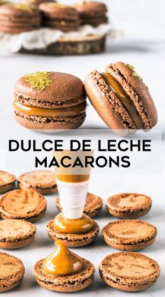 Chocolate macarons filled with dulce de leche Dulce de Leche Macarons. Chocolate macarons filled with dulce de leche Macarons Chocolate, Chocolate Gold, Chocolate Recipes, Chocolate Smoothies, French Macaroon Recipes, French Macaroons, French Macarons Recipe Flavors, Easy Macaron Recipe, Macaroons Flavors
