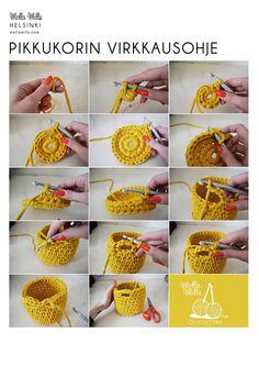 cesto trapillo paso a paso Mini crochet basket- Need to learn how to crochet, how to crochet a basket - could use my T-shirt yarn., how to crochCrochet Fácil - 30 Ideas paso a paso ⋆ Manualidades Y DIYA 'how to' crochet a little basket via Mol Crochet Home, Love Crochet, Learn To Crochet, Diy Crochet, Crochet Crafts, Yarn Crafts, Diy Crafts, Crochet Bags, Crochet Storage
