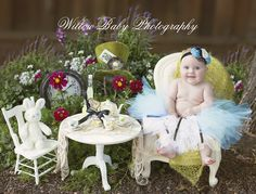 Fairytale Baby Photo shoot - Alice In Wonderland baby photography with outdoor tea party scene from Willow Baby Photography - Amazing Fairytale Photoshoot