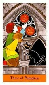 Three of Pentacles Halloween Tarot