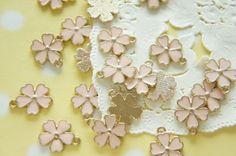 5 pcs Sakura Cherry Blossom  Charm 13mm Pale Salmon by misssapporo