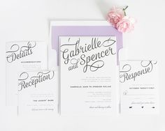 Make a statement with these bold script wedding invitations!  Romantic and chic, this unique design will make an unforgettable impression. Shown in black ink with amethyst and lilac invitation wrapper and liner. Can be customized to any colors on our chart.