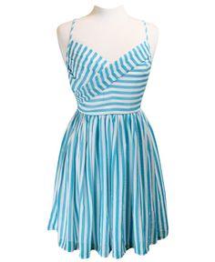 Aqua & White Stripe Dress with Cross Bust www.daisyshoppe.com