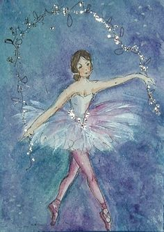 Ballerina art painting aceo (ref 982) £3.00