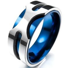 Men's Stainless Steel Ring Band Silver Blue Wedding Charm Elegant - Jewelry For Her Men's Jewelry Rings, Jewelry For Her, Jewellery, Mens Stainless Steel Rings, Blue And Silver, Band Rings, Wedding Bands, Rings For Men, Blue Wedding