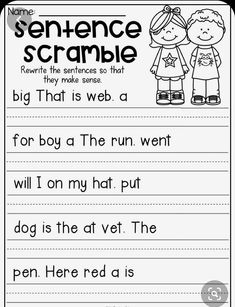 Kindergarten Graduation Ideas Discover Sentence scramble worksheet for kindergarten. Students unscramble the words and rewrite them to form a sentence. First Grade Worksheets, Grammar Worksheets, 1st Grade Activities, Grammar Rules, Back To School Worksheets, Sight Word Worksheets, Grammar Lessons, Writing Lessons, Writing Process