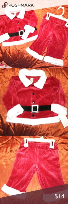 Baby Boy Santa Suit NWT So soft and adorable this Santa Suit is a 2 piece , top and bottoms with open leg pants. I think this on your baby will be the cutest Santa ever!!! Cherokee  Costumes Seasonal