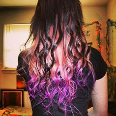 Purple dip dyed neon coral dyed hair