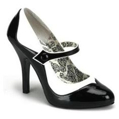 """Take your classic Mary Jane to a new level with this adorable 4 1/2"""" two tone Mary Jane pump with elastic strap, button detail and contrast piping, and 1/2"""" concealed platform. Size: 6. Color: Black."""