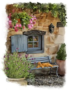 Lazy Days in France by Samantha Tro- Cottage Art, House Painting, Beautiful Paintings, Cat Art, Painting Inspiration, Cute Drawings, Watercolor Paintings, Watercolor Paper, Street Art