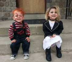 Chucky and his little bride. #chucky #Halloween #outfit