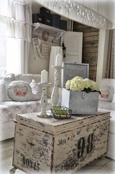 love this whitewashed trunk as a coffee table