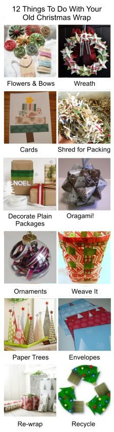12 Things to Do With Your Old Christmas Paper!!! Bebe'!!! Great recycle and repurposed holiday ideas!!!