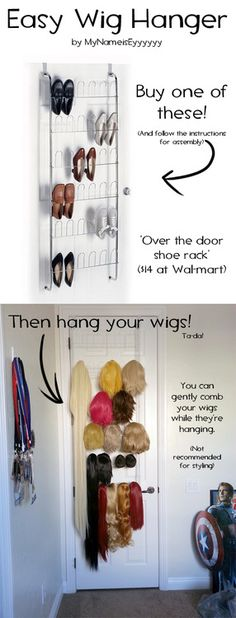 How I hang my wigs! When you start building a giant collection of hair, you're gonna want an easy way to store it, so I came up with t...