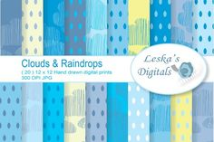 Rain and Clouds Digital Papers by Digital Work Graphic Shop on @creativemarket