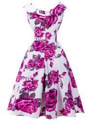Vintage Rose Printed Capelet Dress - WHITE 2XL