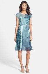 Komarov Belted Print Chiffon & Charmeuse Dress