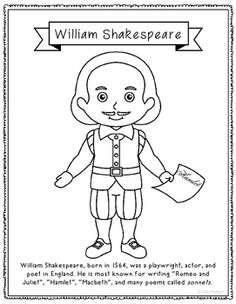 william shakespeare coloring page or poster with mini biography