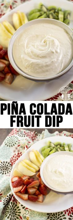Pina Colada Fruit Dip - This easy and creamy fruit dip has the great flavors of pineapple and coconut to remind you of summer. Perfect for dipping fresh fruit or cookies.