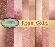 Rose Gold Digital Paper by Origins Digital Curio on Creative Market