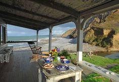 The Beach Hut, a romantic retreat in Cornwall Beach Cottage Style, Beach Cottage Decor, Coastal Cottage, Coastal Living, Beach House, Coastal Decor, Cottage Patio, Coastal Style, Romantic Beach