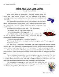 Make Your Own Card Games Third Grade Reading Comprehension Worksheet
