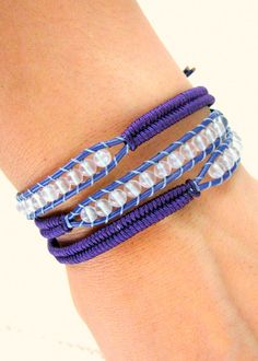 Beaded Leather Wrap Bracelet with Purple Leather