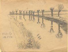 """""""An der Lys."""", Bleistiftzeichnung: Der Fluss wird gesäumt durch Schilfgras im Vordergrund und Bäumen im Hintergrund. Bestand 192-31, Nr. 10."""