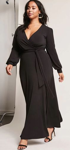 9c43eabe03a Plus Size Surplice Maxi Dress Curvy Girl Fashion