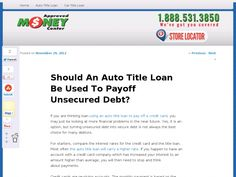 If you are thinking loan using an auto title loan to pay off a credit card, you may just be looking at more financial problems in the near future. Yes, it is an option, but turning unsecured debt into secure debt is not always the best choice for many debtors.