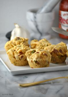 Vegan Bacon & Scallion Cornbread Muffins - made with follow your heart eggs and cheese