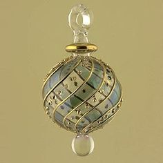 From Egypt Hand Blown Blue Glass ball 24K Gold Accent Christmas Ornament
