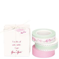 GreenGate Tape Box Sandy With Meters Of Masking Tape Duct Tape, Masking Tape, Washi Tapes, Cinta Washi, French Pattern, Packaging Supplies, Paper Tape, Love Craft, Planner
