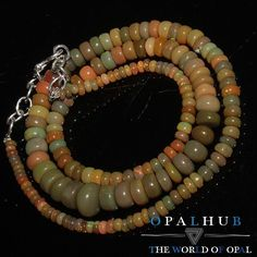 "91 Cts 18"" Natural Ethiopian Welo Fire Opal Smooth Rondelle Beads Necklace 8614"