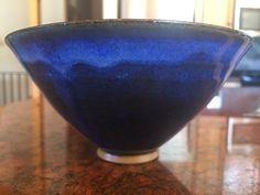 MARY & EDWIN SCHEIER Pottery Blue Ceramic Glazed Bowl, Signed