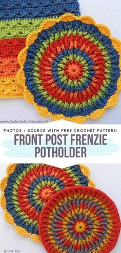 crochet mandala pattern The Front Post Frenzie Potholder is a perfect way to practice using the front post stitch. This pot holder is an attractive project that makes use of a l Crochet Potholder Patterns, Crochet Mandala Pattern, Crochet Motifs, Crochet Dishcloths, Crochet Stitches, Doilies Crochet, Doily Patterns, Crochet Afghans, Crochet Blankets