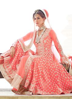 Amazing Coral Pink Net Anarkali Suit