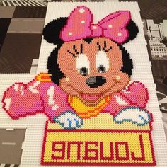 Baby Minnie Mouse with name perler beads by stelloudraw