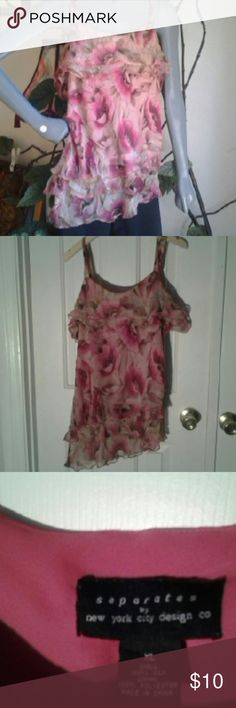 Separates by N.Y. Design Co. Ruffel Tank Tiered Layers, pink print tank top.Thin straps.preowned Separates by N.Y. City Tops Tank Tops