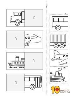 Matching Worksheets, Shapes Worksheets, Preschool Worksheets, Preschool Activities, Preschool Transportation Crafts, Transportation Theme, House Drawing For Kids, Pre Writing Practice, English Activities For Kids