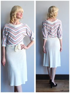 A personal favorite from my Etsy shop https://www.etsy.com/listing/548495787/1970s-knit-dress-pastel-day-knit-dress