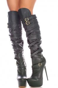 Olive dark green faux leather over the knee boots featured with multi strap, double buckle, 6 inch high heel and hidden platform.