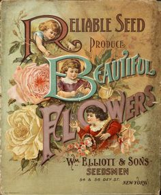 Reliable seed produce beautiful flowers by Wm. Gilbert Nursery and Seed Trade Catalog Collection Publication date 1896 Vintage Diy, Vintage Labels, Vintage Ephemera, Vintage Cards, Vintage Signs, Vintage Pictures, Vintage Images, Vintage Prints, Vintage Posters