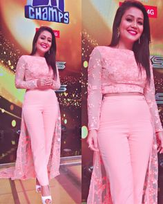 Neha Kakkar In Peach Western Wear,Rayon & Georgette Western wear,Embroidery Work Wear,Designer Wear,buy Indo western online