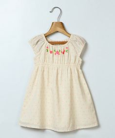 Look what I found on #zulily! Off-White Embroidered Dobby Dress - Infant, Toddler & Girls #zulilyfinds