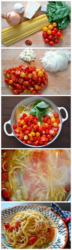 One Pot Pasta Ingredients spaghetti cherry tomatoes 1 thinly sliced onion 2 thinly sliced garlic cloves 4 cups of vegetable broth 1 teaspoon chilly flakes 2 sprigs of fresh basil. I Love Food, Good Food, Yummy Food, Tasty, One Pot Meals, Easy Meals, Pasta Recipes, Cooking Recipes, Vegetarian Recipes