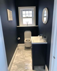 Our dark blue bathroom on the ground floor is still one of my favorite bathrooms classpintag Downs .Our dark blue bathroom on the ground floor is still one of my favorite classpintag Downstairs explore favourite Small Downstairs Toilet, Small Toilet Room, Downstairs Cloakroom, Guest Toilet, Bathroom Renos, Bathroom Interior, Modern Bathroom, Small Bathroom, Bathroom Ideas